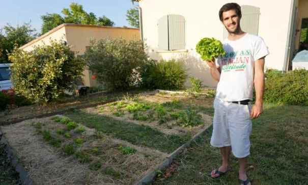 Young man showing a lettuce freshly cut from his garden
